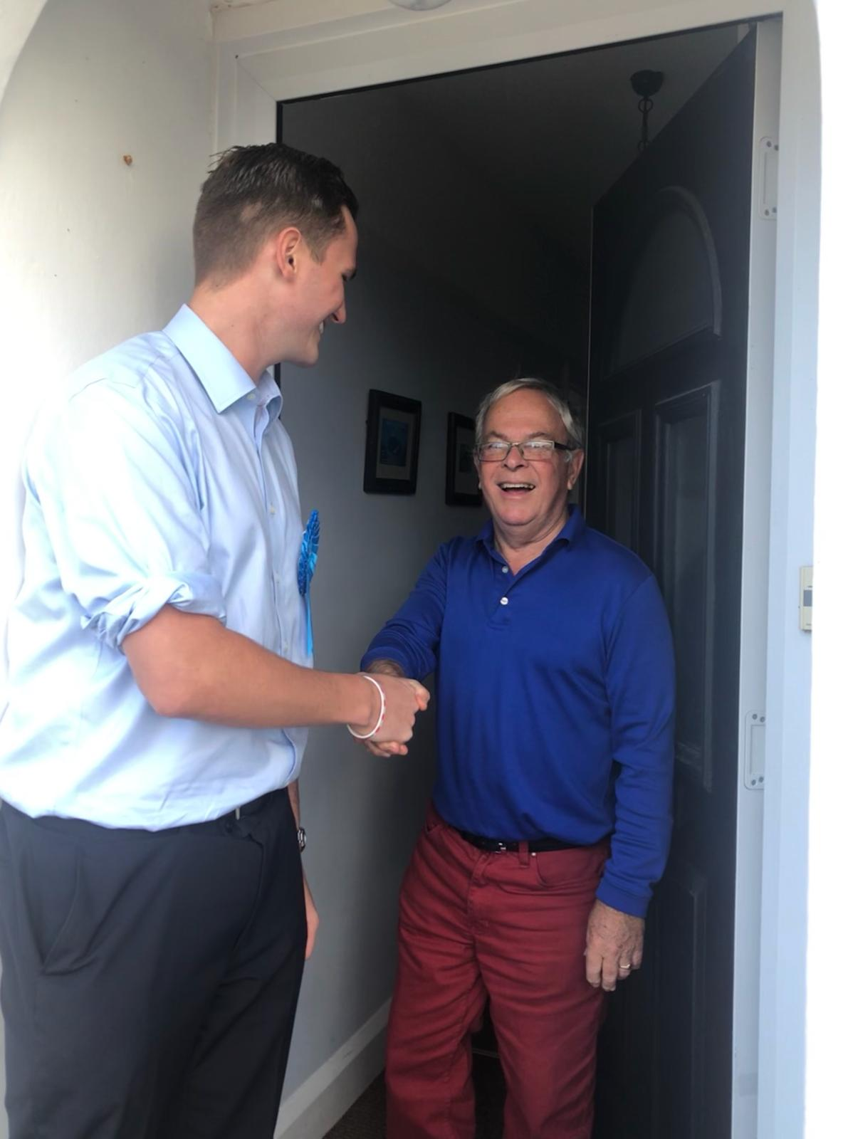 Joe Miller chats with a resident shortly after being selected as the Parliamentary Candidate for Brighton Kemptown & Peacehaven.